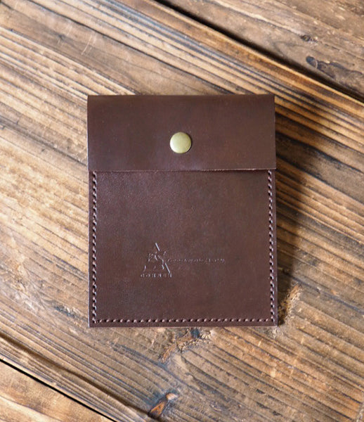 ES Corner Handmade Leather Pouch Travel Wallet Dark Brown Gift
