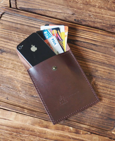 ES Corner Handmade Leather Travel Wallet IPhone Pouch Phone Case for Cash Credit Card Brown