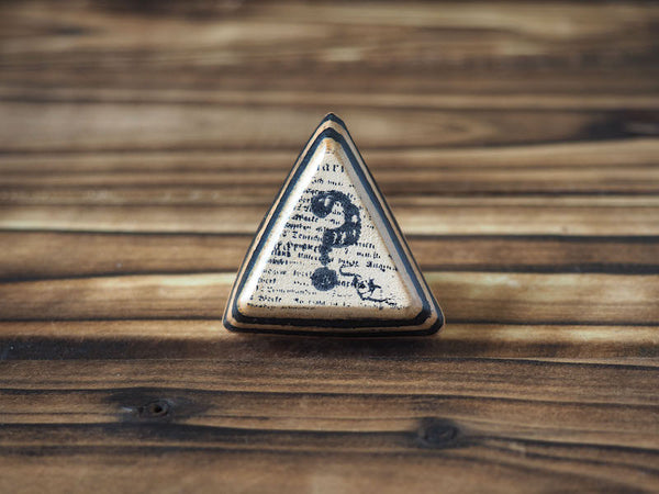 ES Corner Handmade Vegetable tanned Leather Hand Stamped Question Mark Triangle Ring