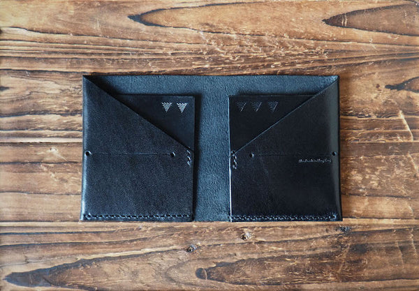 Handmade Leather Peak Billfold Wallet Slim Wallet Mens wallet #Black | ES Corner
