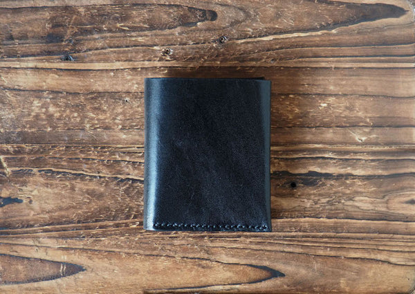 Leather Mens Wallet Peak Billfold Wallet Slim card wallet #Black | ES Corner