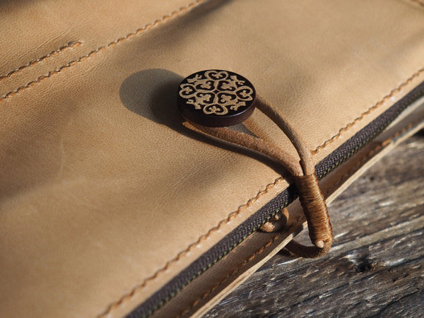 ES Corner Handmade Leather Sketchbook Journal Case with wooden button and YKK metal zippers