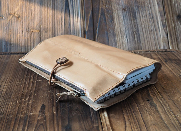 ES Corner Handmade Leather Natural Nude Sketchbook Case with quality Italian veg tanned Leather