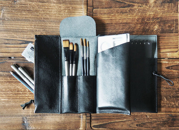 ES Corner Handmade Leather Sketchbook Case with Brush Case Pencil Case and Drawing Case Personalized Journal Black