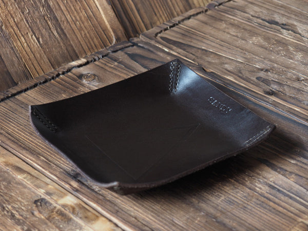 ES Corner Handmade Leather Valet Tray Desk tray Stash Tray Coin tray Dark Brown Personalized name Initial