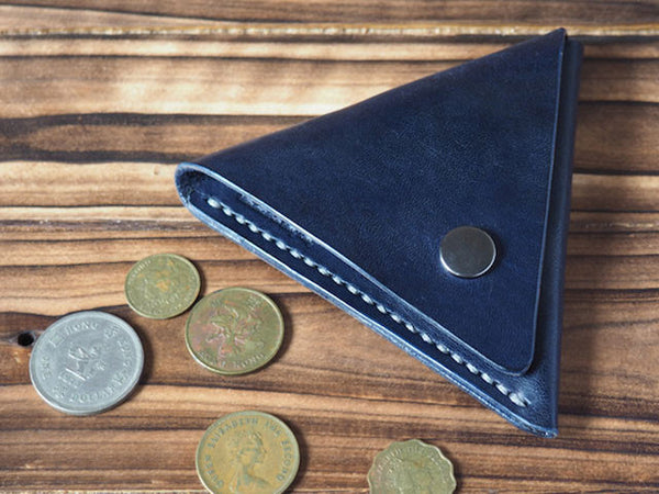 Handmade Leather Triangle Coin Purse #Blue Top shot | ES Corner