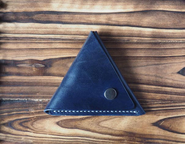 Leather Triangle Coin Purse #Blue Front | ES Corner