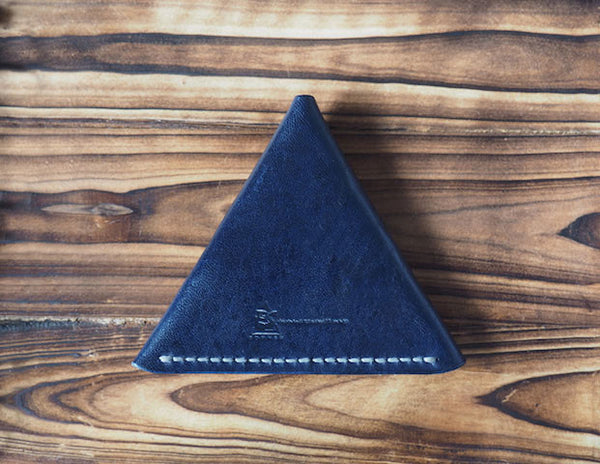 Leather Triangle Coin Purse #Blue | Back | ES Corner