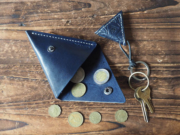 Leather Triangle Coin Purse & Keychain #Blue | ES Corner