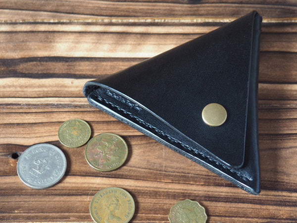 Handmade Leather Triangle Coin Purse #Black | ES Corner