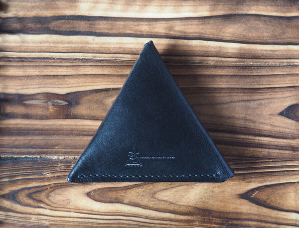 Leather Triangle Coin Purse #Black | Back | ES Corner