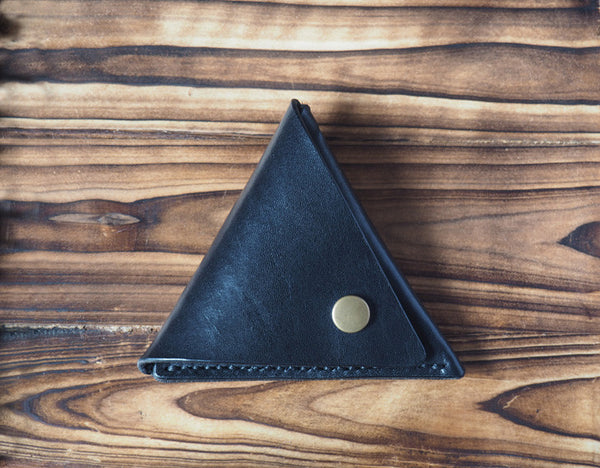 Leather Triangle Coin Purse #Black | ES Corner