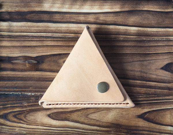 Leather Triangle Coin Purse #Natural Nude | ES Corner