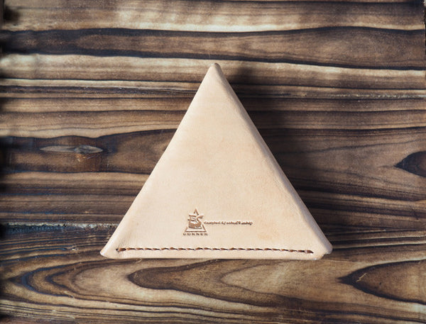 Leather Triangle Coin Purse #Natural Nude | Back | ES Corner