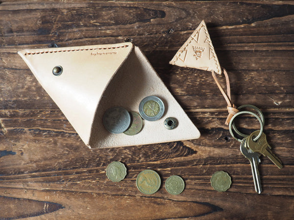 Handmade Leather Triangle Coin Purse #Natural Nude | ES Corner