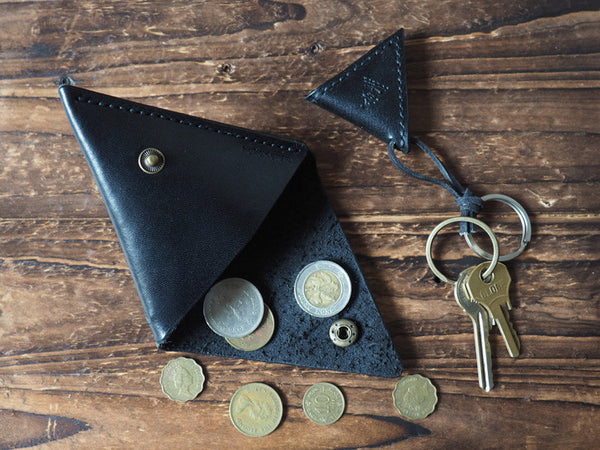 Leather Triangle Coin Purse & Keychain #Black | ES Corner