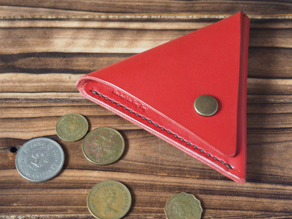 Handmade Leather Triangle Coin Purse #Red Top shot | ES Corner