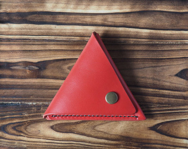 Leather Triangle Coin Purse #Red Front | ES Corner