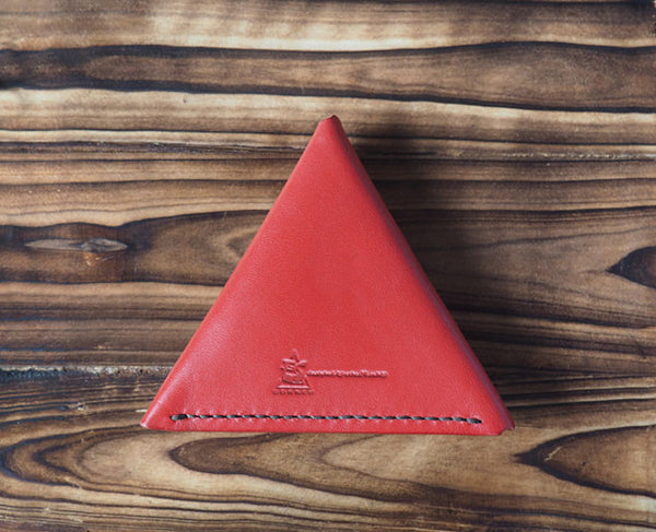 Leather Triangle Coin Purse #Red | Back | ES Corner
