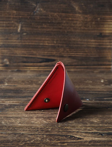 Leather Triangle Coin Purse & Keychain #Red | ES Corner