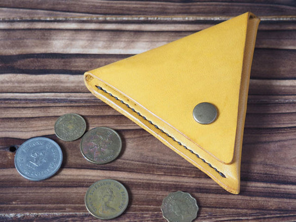 Handmade Leather Triangle Coin Purse #Yellow Top shot | ES Corner