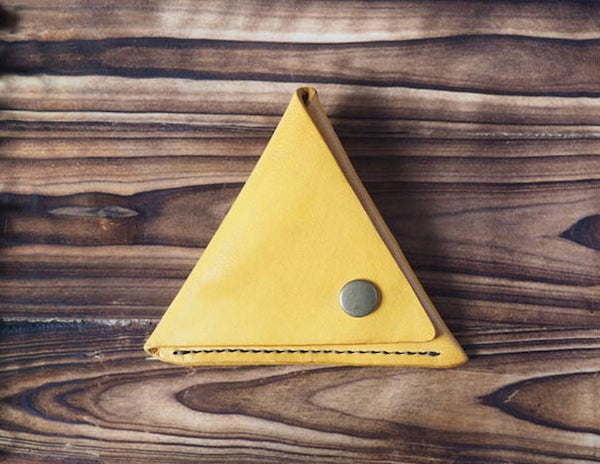 Leather Triangle Coin Purse #Yellow Front | ES Corner