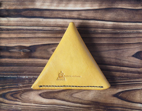 Leather Triangle Coin Purse #Yellow | Back | ES Corner