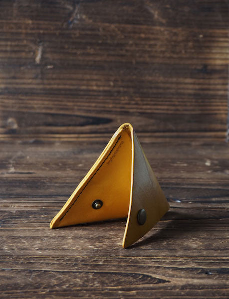 Leather Triangle Coin Purse #yellow Art photo | ES Corner