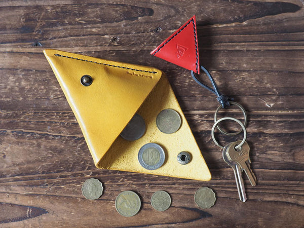 Leather Triangle Coin Purse #Yellow & Keychain #Red | ES Corner