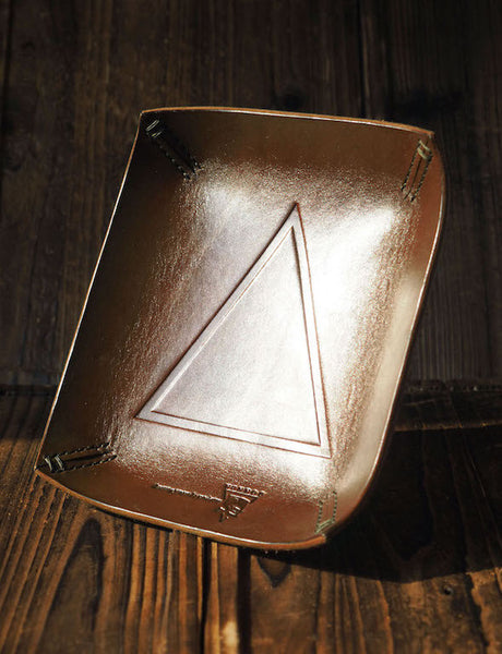 ES Corner Handmade Leather Valet Tray Stash Tray #Brown | Triangle