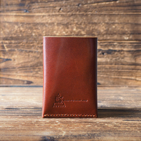 ES Corner Leather Minimal Folded Card Wallet Slim Card Wallet Credit card holder Whiskey Brown Back