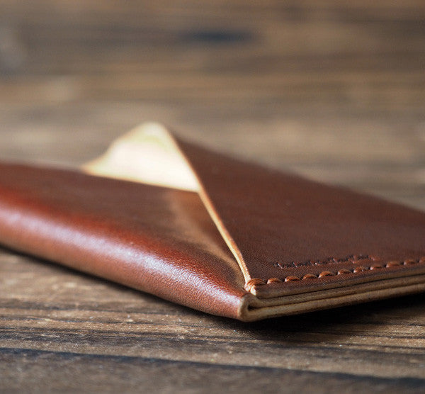 ES Corner Hand stitched Folded Leather iPhone Case Whiskey Brown