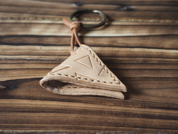 ES Corner Handmade Leather Guitar Pick Case Keychain with hand-tooled Triangle pattern Natural Nude Back