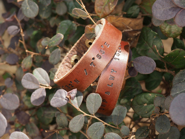 ES Corner Handmade Leather Couple Cuff Bracelet Perfect Personalized Gifts for Valentine's day and Anniversary Brown