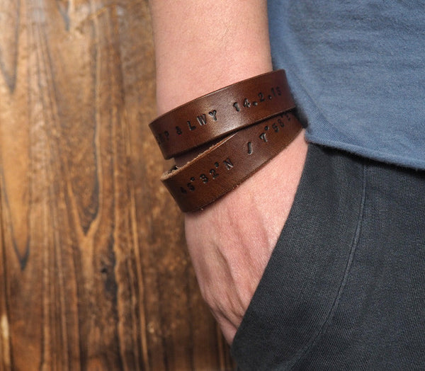 ES Corner Handmade Leather Cuff Bracelet Personalized Gifts for Men Brown