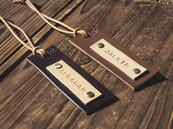 ES Corner Handmade Leather Luggage Tag 2 colors Minimalist style Dark Brown for traveler