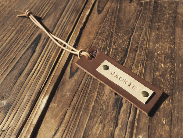 ES Corner Handmade Personalized Leather Luggage Tag with Name Initial Brown Travel Tag