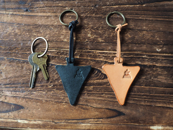 ES Corner Triangle Leather Keychain Black Natural Nude Key Holder Gifts idea