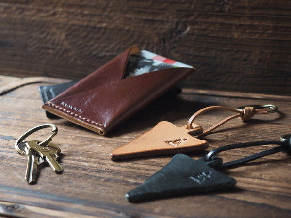 ES Corner Handmade Leather Keychain triangle shape Black Nude and slim card wallet brown