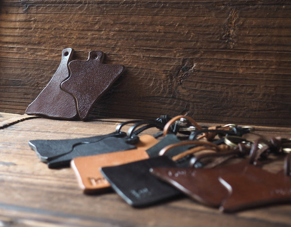 ES Corner Leather Keychain Simple design Minimalist Style Brown Black