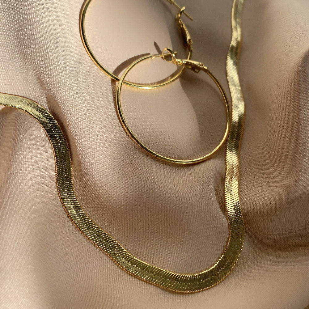 Petra Gold Herringbone Chain Necklace