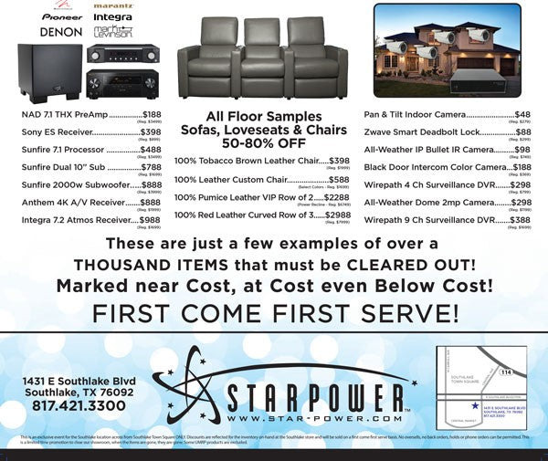 southlake-sell-off-event-starpower-audio-video-sale-dfw