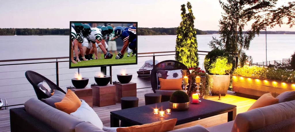 for the outdoor viewing enthusiast our line of weather resistant flat screen tvs are perfect for outdoor mounting onto patio walls or above your outdoor - The Outdoor Room