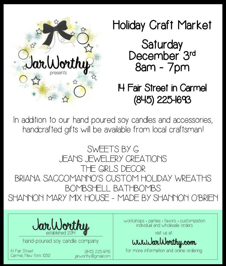 Holiday Craft Market! Saturday Decemeber 3rd!