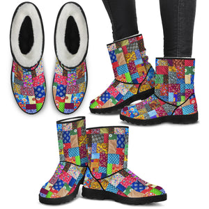 Colorful Quilt Faux Fur Boots