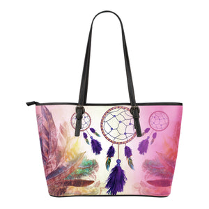 Multi-color Dreamcatcher Small Leather Tote Bag
