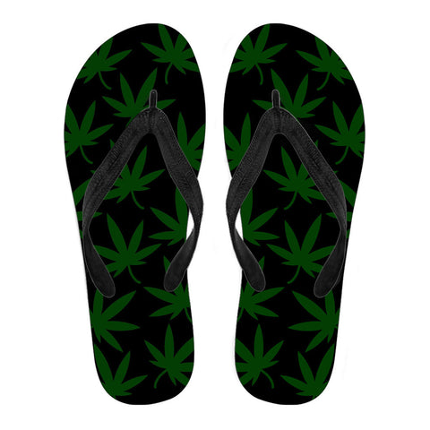 Image of Women's American Leaf Flip Flops - Black Strap