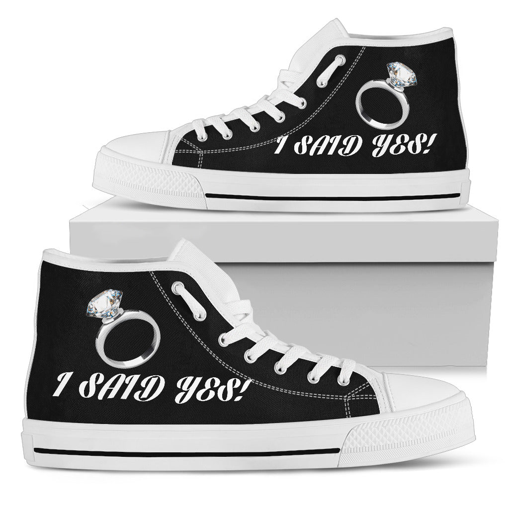 """I Said Yes"" Bachelorette Party High-Top Shoes - Black"