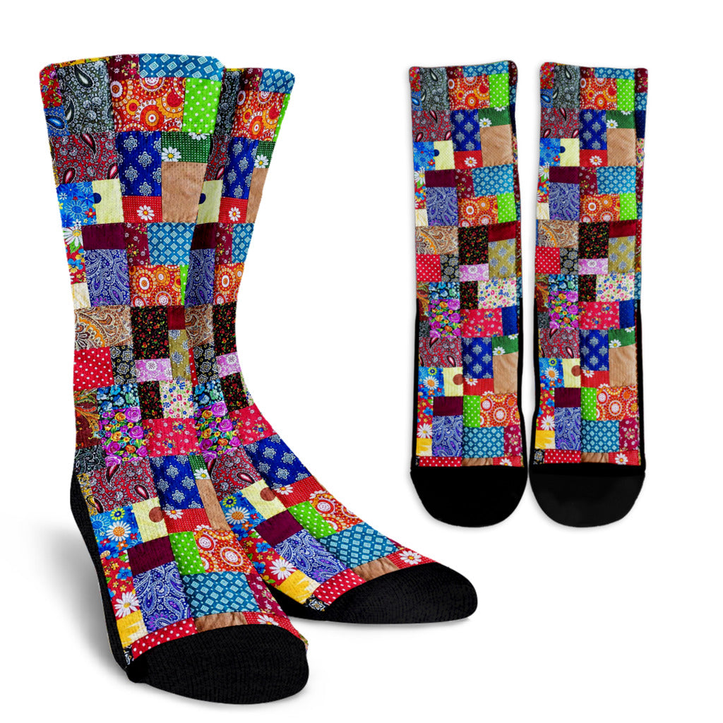 Colorful Patch Quilt Socks
