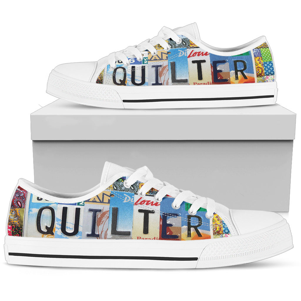 License Plate Patchwork Quilt Low-Top